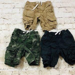 Boys 4T short bundle tan camo dark navy blue